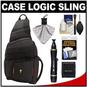 Case Logic Digital SLR Sling Camera Bag-Case-Black-- SLRC-205-with Cleaning Kit and Accessory Kit