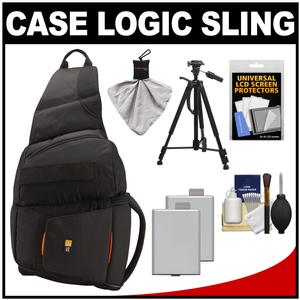Case Logic Digital SLR Sling Camera Bag-Case-Black-- SLRC-205-with-2-LP-E5 Batteries and Tripod and Accessory Kit
