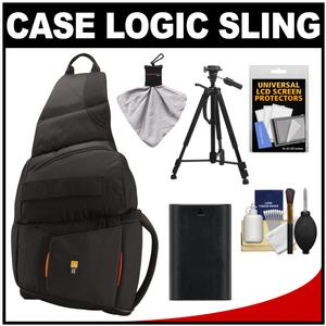 Case Logic Digital SLR Sling Camera Bag-Case-Black-- SLRC-205-with LP-E6 Battery and Tripod and Accessory Kit