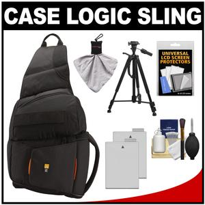 Case Logic Digital SLR Sling Camera Bag/Case (Black) (SLRC-205) with (2) LP-E8 Batteries + Tripod + Accessory Kit