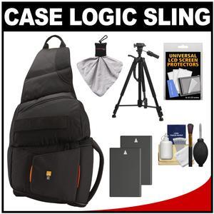 Case Logic Digital SLR Sling Camera Bag/Case (Black) (SLRC-205) with (2) EN-EL9a Batteries + Tripod + Accessory Kit