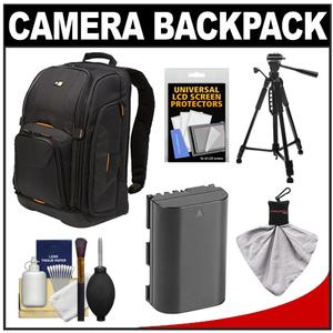 Case Logic Digital SLR Camera Backpack Case - Black - - SLRC-206 - with LP-E6 Battery + Tripod + Accessory Kit