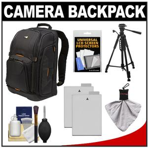 Case Logic Digital SLR Camera Backpack Case - Black - - SLRC-206 - with - 2 - LP-E8 Batteries + Tripod + Accessory Kit
