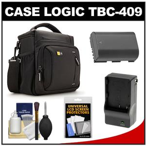 Case Logic TBC-409 Digital SLR Camera Shoulder Case - Black - with LP-E6 Battery and Charger + Kit for Canon EOS 70D 80D 7D 5D Mark II III IV
