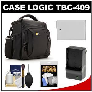 Case Logic TBC-409 Digital SLR Camera Shoulder Case - Black - with LP-E8 Battery and Charger + Accessory Kit for Rebel T3i T4i T5i