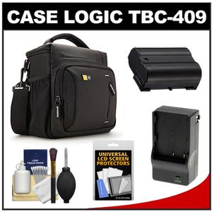 Case Logic TBC-409 Digital SLR Camera Shoulder Case - Black - with EN-EL15 Battery and Charger + Accessory Kit for D7000 D7100 D600 D800
