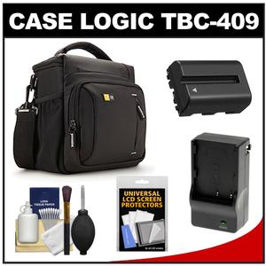 Case Logic TBC-409 Digital SLR Camera Shoulder Case - Black - with NP-FM500H Battery and Charger + Accessory Kit for Sony Alpha A57 A58 A65 A77 A99