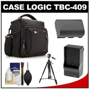Case Logic TBC-409 Digital SLR Camera Shoulder Case - Black - with LP-E6 Battery and Charger + Tripod + Kit for Canon EOS 70D 80D 7D 5D Mark II III IV