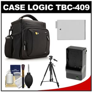 Case Logic TBC-409 Digital SLR Camera Shoulder Case - Black - with LP-E8 Battery and Charger + Tripod + Kit for Rebel T3i T4i T5i