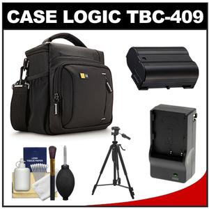 Case Logic TBC-409 Digital SLR Camera Shoulder Case - Black - with EN-EL15 Battery and Charger + Tripod + Kit for D7000 D7100 D600 D800