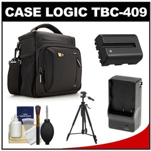 Case Logic TBC-409 Digital SLR Camera Shoulder Case - Black - with NP-FM500H Battery and Charger + Tripod + Kit for Sony Alpha A57 A58 A65 A77 A99