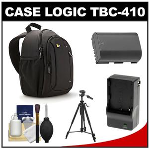 Case Logic TBC-410 Digital SLR Camera Sling Case (Black) with LP-E6 Battery & Charger + Tripod + Kit for Canon EOS 6D 7D 5D Mark II III