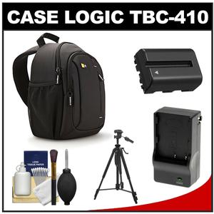 Case Logic TBC-410 Digital SLR Camera Sling Case (Black) with NP-FM500H Battery & Charger + Tripod + Kit for Sony Alpha A57 A58 A65 A77 A99