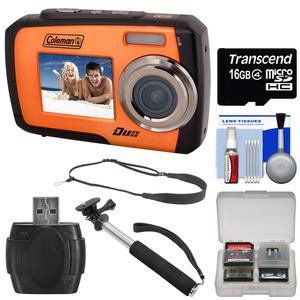 Coleman Duo 2V7WP Dual Screen Shock & Waterproof Digital Camera (Orange) with 16GB Card + Selfie Stick Monopod + Sling Strap + Kit