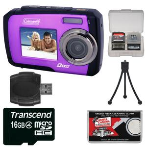 Coleman Duo 2V7WP Dual Screen Shock and Waterproof Digital Camera (Purple) with 16GB Card and Reader and Accessory Kit
