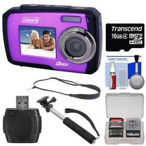 Coleman Duo 2V7WP Dual Screen Shock & Waterproof Digital Camera (Purple) with 16GB Card + Selfie Stick Monopod + Sling Strap + Kit