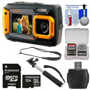 Coleman Duo 2V9WP Dual Screen Shock & Waterproof Digital Camera (Orange) with 32GB Card + Selfie Stick Monopod + Sling Strap + Kit