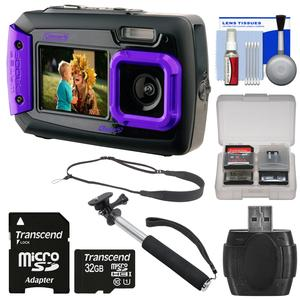 Coleman Duo 2V9WP Dual Screen Shock & Waterproof Digital Camera (Purple) with 32GB Card + Selfie Stick Monopod + Sling Strap + Kit