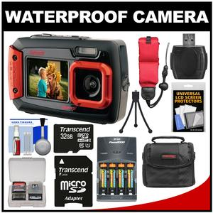 Coleman Duo 2V9WP Dual Screen Shock & Waterproof Digital Camera (Red) with 32GB Card + Batteries & Charger + Case + Float Strap + Kit
