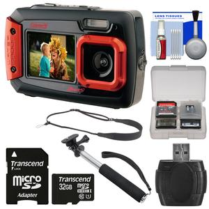 Coleman Duo 2V9WP Dual Screen Shock & Waterproof Digital Camera (Red) with 32GB Card + Selfie Stick Monopod + Sling Strap + Kit