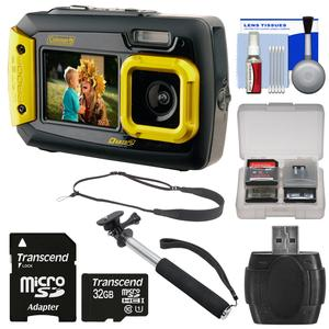 Coleman Duo 2V9WP Dual Screen Shock & Waterproof Digital Camera (Yellow) with 32GB Card + Selfie Stick Monopod + Sling Strap + Kit