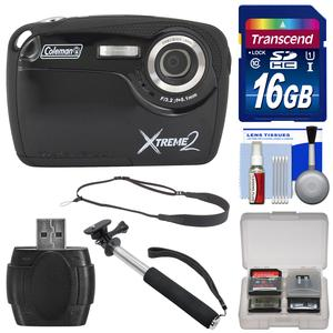 Coleman Xtreme2 C12WP Shock & Waterproof Digital Camera with HD Video (Black) with 16GB Card + Selfie Stick Monopod + Sling Strap + Kit
