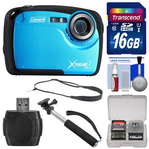 Coleman Xtreme2 C12WP Shock & Waterproof Digital Camera with HD Video (Blue) with 16GB Card + Selfie Stick Monopod + Sling Strap + Kit