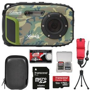 Coleman Xtreme3 C9WP Shock & Waterproof 1080p HD Digital Camera (Camo) with 16GB Card + Case + Tripod + Float Strap + Kit