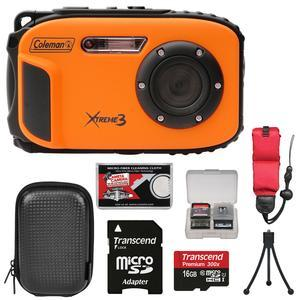 Coleman Xtreme3 C9WP Shock & Waterproof 1080p HD Digital Camera (Orange) with 16GB Card + Case + Tripod + Float Strap + Kit