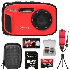 Coleman Xtreme3 C9WP Shock & Waterproof 1080p HD Digital Camera (Red) with 16GB Card + Case + Tripod + Float Strap + Kit