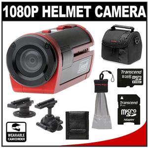 Coleman Xtreme Sports Cam Waterproof HD Digital Video Camera Camcorder (Red) with 8GB Card + Case + Accessory Kit