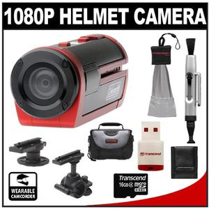 Coleman Xtreme Sports Cam Waterproof HD Digital Video Camera Camcorder (Red) with 16GB Card + Lenspen + Case + Accessory Kit