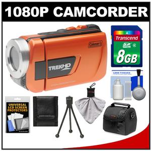 Coleman CVW16HD TrekHD Waterproof HD Digital Video Camera Camcorder (Orange) with 8GB Card + Case + Flex Tripod + Accessory Kit