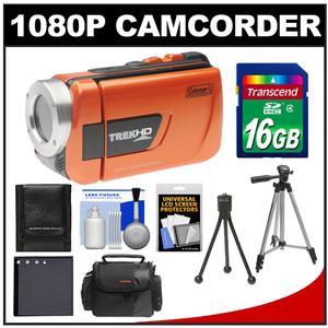 Coleman CVW16HD TrekHD Waterproof HD Digital Video Camera Camcorder (Orange) with 16GB Card + Case + Battery + 2 Tripods + Accessory Kit