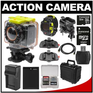 Coleman Bravo2 Wi-Fi HD Video Action Camera Camcorder & LCD Watch Remote with Handlebar Bike & Adhesive Mounts + 32GB Card + Battery + Charger + Hard Case + Kit