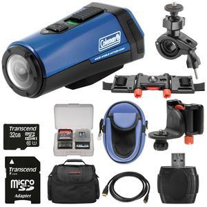 Coleman Aktivsport CX9WP GPS HD Video Action Camera Camcorder - Blue - with 32GB Card + Cases + Kit