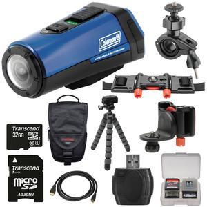 Coleman Aktivsport CX9WP GPS HD Video Action Camera Camcorder - Blue - with 32GB Card + Case + Flex Tripod + Kit