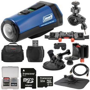 Coleman Aktivsport CX9WP GPS HD Video Action Camera Camcorder - Blue - with 32GB Card + Car Suction Cup and Dashboard Mounts + Case + HDMI Cable + Kit