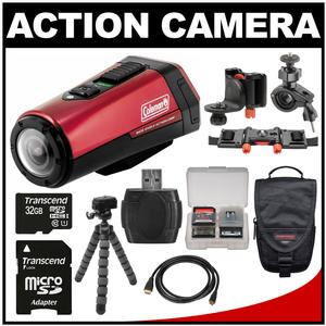Coleman Aktivsport CX9WP GPS HD Video Action Camera Camcorder (Red) with 32GB Card + Case + Flex Tripod + Kit