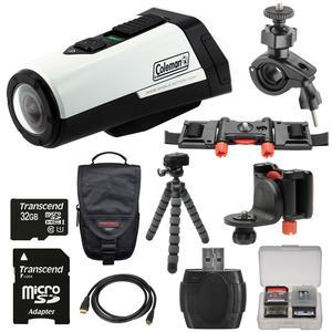 Coleman Aktivsport CX9WP GPS HD Video Action Camera Camcorder - White - with 32GB Card + Case + Flex Tripod + Kit