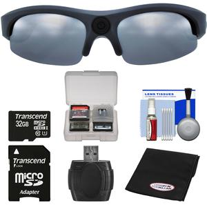 Coleman VisionHD G3HD-SUN 1080p HD Video Camera Weatherproof Action Polarized Sunglasses with 32GB Card + Reader + Anti-Fog Cloth + Kit