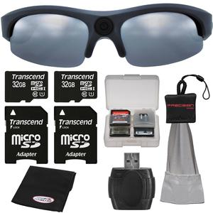 Coleman VisionHD G3HD-SUN 1080p HD Video Camera Weatherproof Action Polarized Sunglasses with - 2 - 32GB Cards + Anti-Fog Cloth + Spudz + Kit