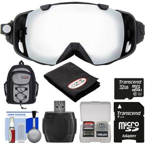 Coleman VisionHD G9HD-SKI 1080p HD Video Camera Camcorder Waterproof POV Snow Ski Goggles with 32GB Card + Backpack + Anti-Fog Cloth + Reader + Kit
