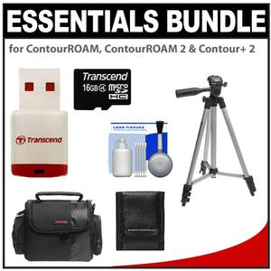 Essentials Bundle for ContourROAM  ContourROAM 2 & Contour+ 2 Action Camcorders with 16GB Card + Case + Tripod + Accessory Kit