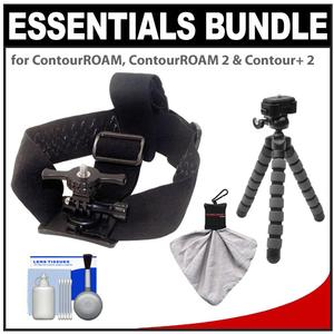 Essentials Bundle for ContourROAM2 ROAM3 and Contour and 2 Action Camcorders with Helmet Mount and Flex Tripod and Accessory Kit