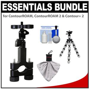 Essentials Bundle for ContourROAM  ContourROAM 2 & Contour+ 2 Action Camcorders with Handlebar Bike Mount + Flex Tripod + Accessory Kit
