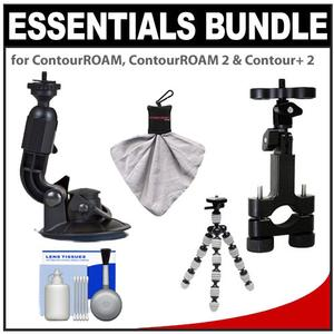Essentials Bundle for ContourROAM  ContourROAM 2 & Contour+ 2 Action Camcorders with Suction Cup & Roll Bar Mount + Flex Tripod + Accessory Kit