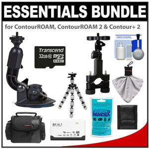Essentials Bundle for ContourROAM  ContourROAM 2 & Contour+ 2 Action Camcorders with Suction Cup & Roll Bar Mount + 32GB Card + Case + Accessory Kit