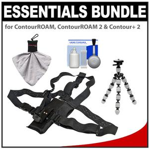 Essentials Bundle for ContourROAM2 ROAM3 and Contour and 2 Action Camcorders with Chest Mount and Flex Tripod and Accessory Kit