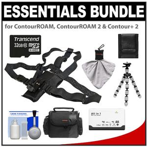 Essentials Bundle for ContourROAM  ContourROAM 2 & Contour+ 2 Action Camcorders with Chest Mount + 32GB Card + Case + Accessory Kit